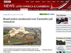 BBC de Londres diz que houve condenação em caso notório de massacre em São Paulo (Foto: Reprodução)