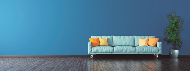 Interior of modern living room with blue sofa panorama 3d rendering (Foto: Getty Images/iStockphoto)