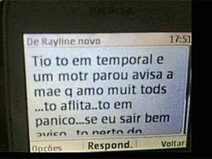 sms de Rayline para tio antes de avião sumir no Pará (Foto: Reprodução / GloboNews)