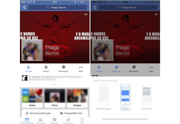 Opções de seguir ou não um perfil no Facebook para iOS (Foto: Reprodução/Aline Jesus)
