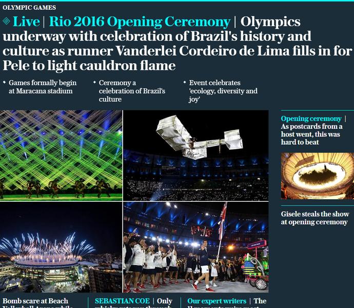 repercussão internacional, cerimônia de abertura, the telegraph (Foto: Reprodução / The Telegraph)
