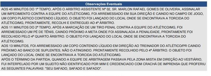 57451b7512 Súmula Atlético-MG x Atlético-PR (Foto  Reprodução  site CBF) Súmula do  árbitro Marcelo de Lima Henrique relata objetos atirados ...