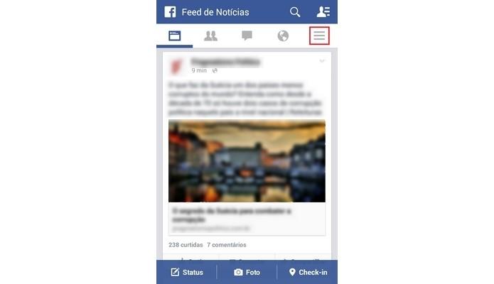 Destaque para botão Mais na tela inicial do app do Facebook (Foto: Reprodução/Raquel Freire)