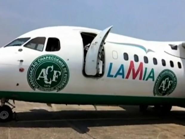 Avião usado pela Chapecoense. (Foto: Reprodução/TVGlobo)