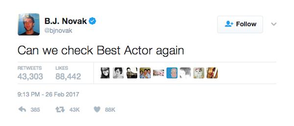 A crítica de B.J. Novak a Casey Affleck (Foto: Twitter)