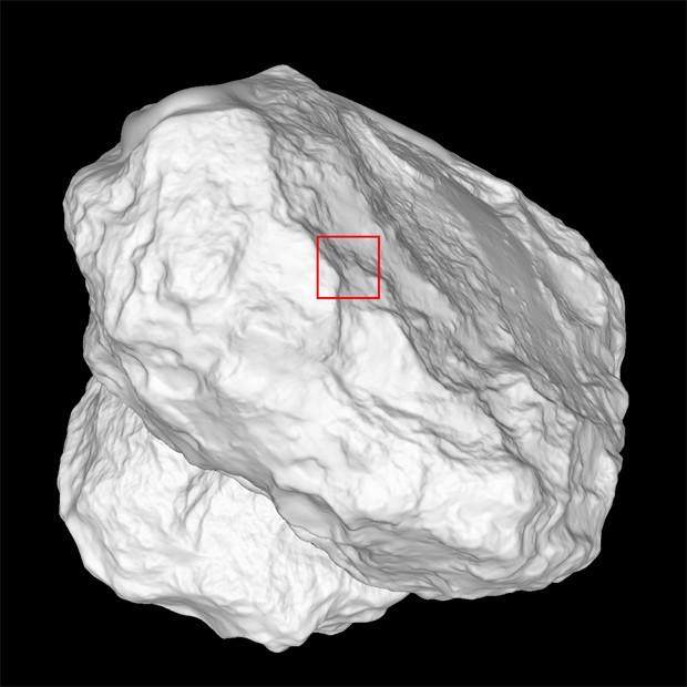 Modelo do cometa 67P/Churyumov-Gerasimenko mostra a posição em que a imagem foi feita  (Foto: ESA/Rosetta/MPS for OSIRIS Team MPS/UPD/LAM/IAA/SSO/INTA/UPM/DASP/IDA)