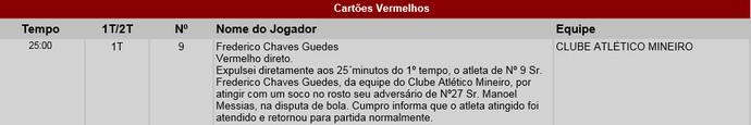 Súmula; Fred; Atlético-MG; Cruzeiro (Foto: Reprodução )