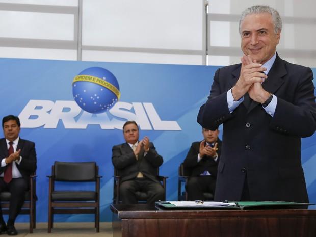 O presidente Michel Temer, durante cerimônia no Palácio do Planalto para anunciar créditos para micro e pequenas empresas (Foto: Marcos Corrêa/PR)