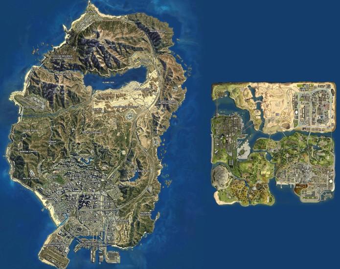 Imagem compara mapas de GTA 5 e GTA: San Andreas desafiando a nostalgia (Foto: Kotaku)