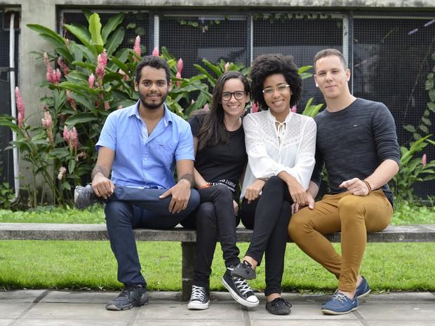 Nicolau Firmo, Lalleska Araújo, Aniara Menezes e Willian Santos são os criadores do projeto de casas flutuantes (Foto: Alice Araújo/Divulgação)