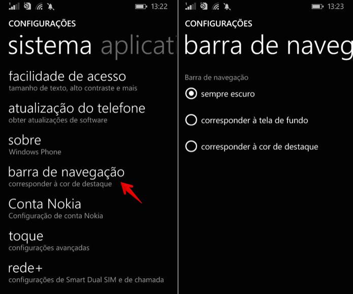 Acesse as configurações da barra de navegação (Foto: Reprodução/Helito Bijora)
