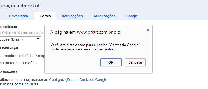 Alerta informando que usuário será redirecionado (Foto: Reprodução/Helito Bijora)