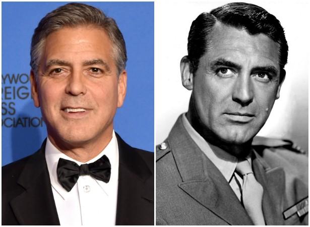 Qual desses galãs você acha mais charmoso: George Clooney ou o ator Cary Grant (1904-1986)? Os dois são bem semelhantes. (Foto: Getty Images e Domínio Público)