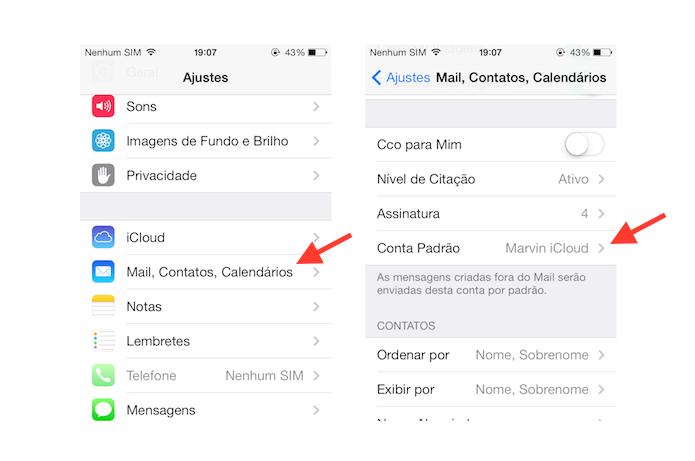 Acessando as configurações de conta padrão de e-mail do iOS (Foto: Reprodução/Marvin Costa)