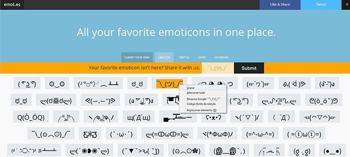 Emotes reúne emojis complexos em uma mesma página (Foto: Reprodução/Barbara Mannara)