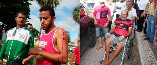 Feridos durante o tiroteio foram socorridos ao hospital e não correm risco de morte, segundo a PM (Foto: Gilli Maia/G1)