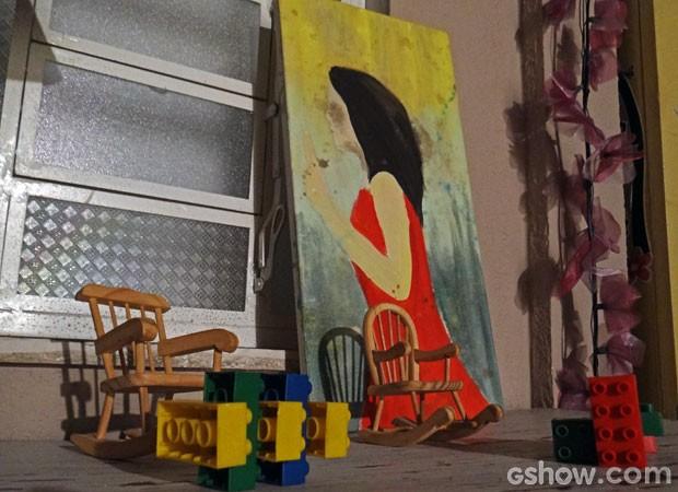 Quadro de Danielle Carcav no cenário (Foto: Amor à Vida/ TV Globo)