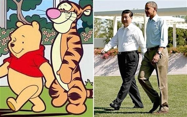 Pooh e Tigrão ao lado de Xi Jinping e Brack Obama (Foto: Reprodução)