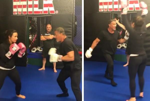 Sylvester Stallone e Demi Lovato em um treino de boxe (Foto: Instagram)