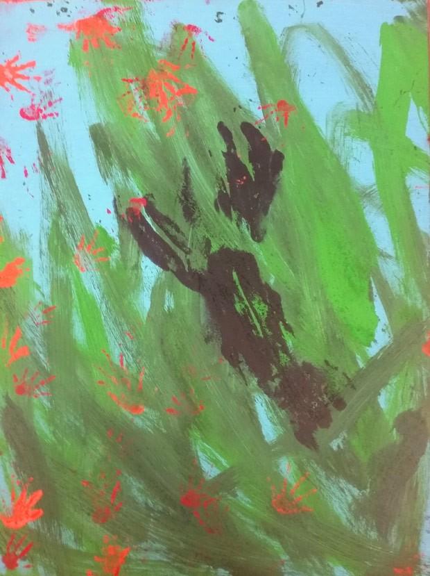Obra feita conjunto pela elefanta Ruth, a fêmea de lagarto Rosie e a foca Blue custa US$ 180 (Foto: Reprodução/Facebook/Buttonwood Park Zoo)