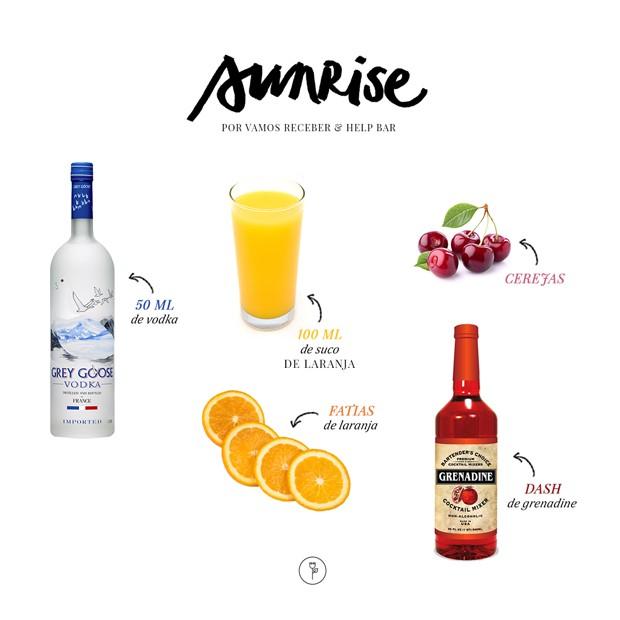 Sunrise: drink colorido leva suco de laranja e cerejas (Foto: Divulgação)