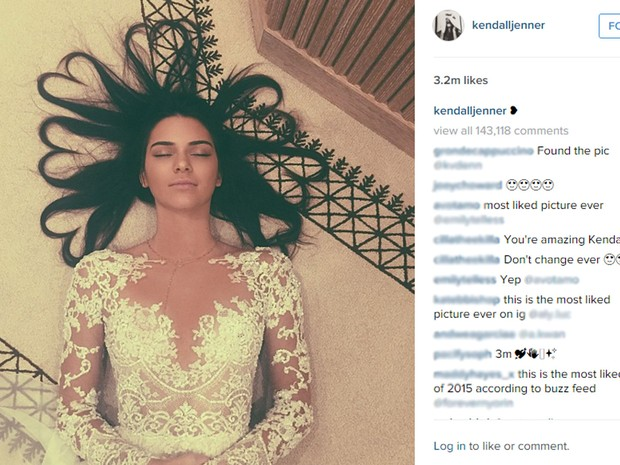 Kendall Jenner publicou a foto com maior número de curtidas do Instagram no mundo (Foto: Reprodução/Instagram/kendalljenner)
