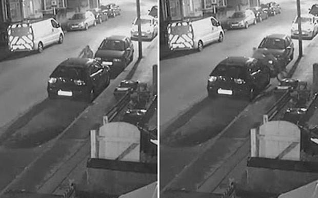 Ciclista perdeu controle da bike e colidiu contra carro estacionado  (Foto: Reprodução/YouTube/CCTV101)