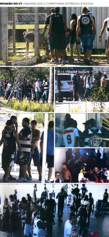 Mosaico invasão CT Corinthians polícia (Foto: Editoria de Arte)