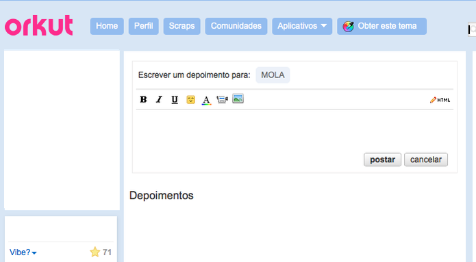Depoimentos funcionavam como inbox no Orkut (Foto: Reprodução/TechTudo)