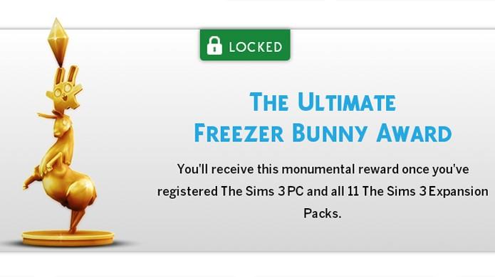 Estátua de ouro será dada para jogadores com The Sims 3 e todas as 11 expansões (Foto: Reprodução)