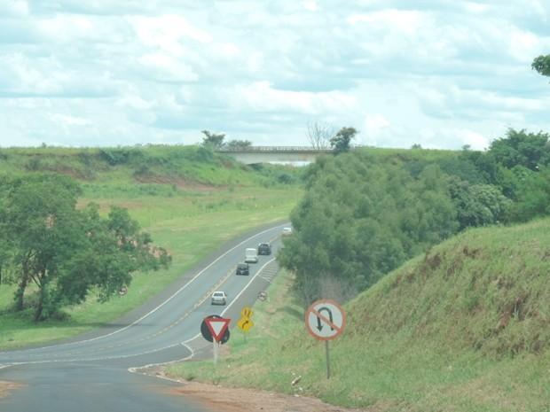 De longe é possível ver a ponte, que virou apenas paisagem no local (Foto: Marcos Lavezo/G1)