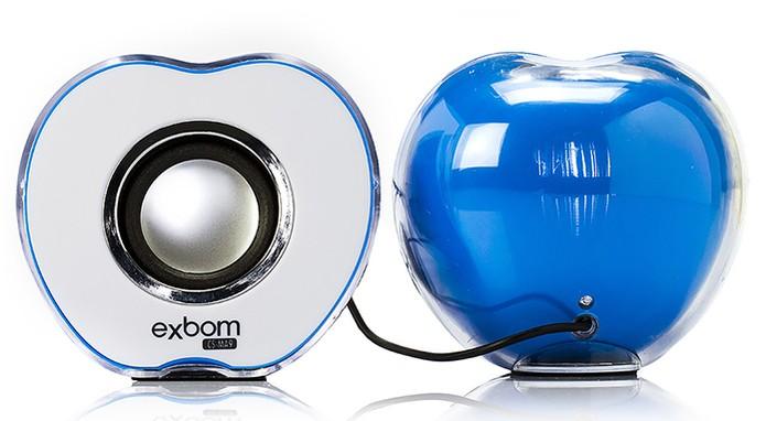 Caixa de som com design de maçã para notebook e celular (Foto: Divulgação/Exbom)