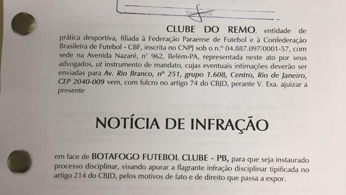 Remo deu entrada no STJD com a denúncia contra o Bota-PB (Foto: Divulgação)