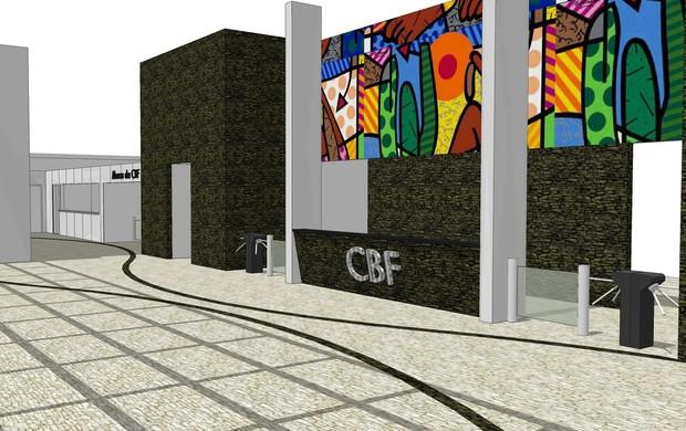 painel romero brito cbf obras prédio novo (Foto: Montagem/André Durão/CBF)