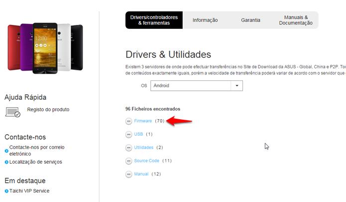 Lista de arquivos será exibida ao clicar em Firmware. (Foto: Reprodução/Alessandro Junior)