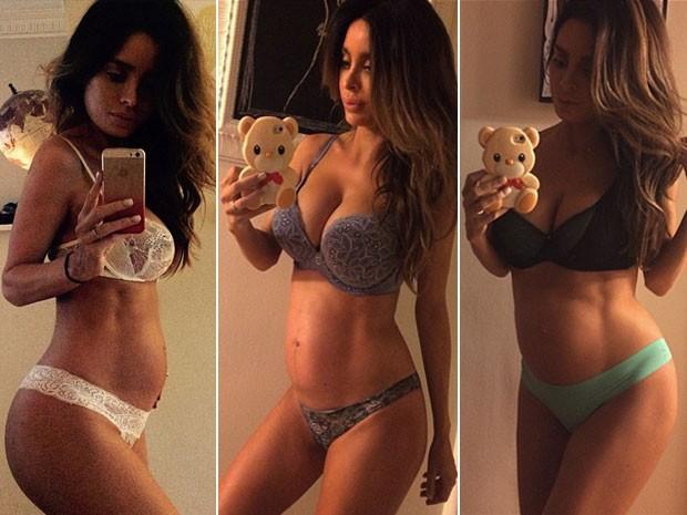 Sarah Stage modelo grvida de 9 meses  criticada nas redes socias pela boa forma (Foto: Reproduo / Instagram)