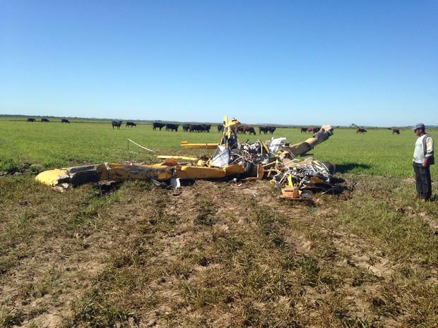 Avião caiu em propriedade rural no interior de São Vicente do Sul (Foto: Tiago Guedes/RBS TV)