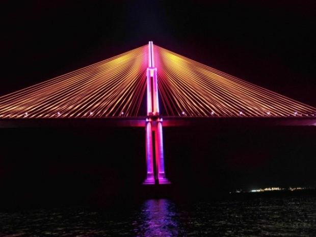 Ponte Rio Negro ganha iluminação rosa durante o 'Outubro Rosa' (Foto: Divulgação/Fcecon)