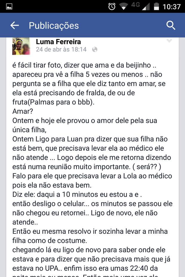 Ex-namorada de Luan do 'BBB 15' (Foto: Facebook / Reprodução)