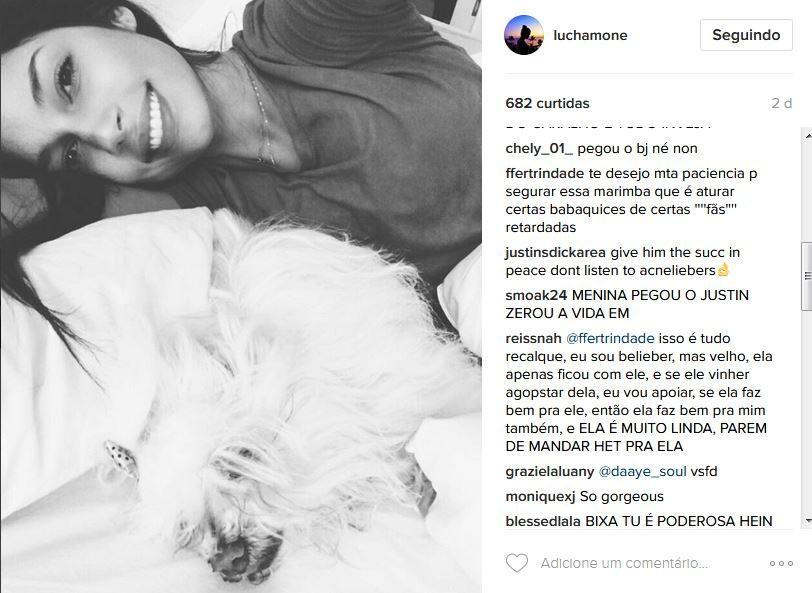"Beliebers ""invadem"" perfil de Luciana Chamone (Foto: Instagram/Reprodução)"