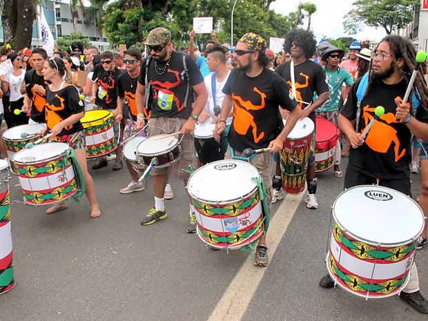 Músicos acompanham o bloco do Pacotão em Brasília (Foto: Lucas Nanini/G1)