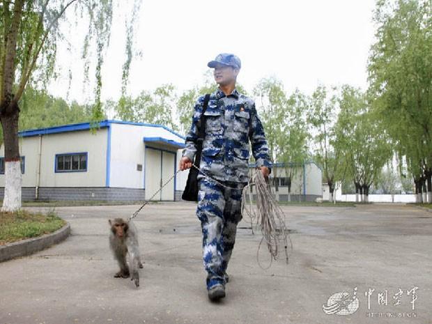 Militar caminha com exemplar de macaco que deve ser utilizado em operação contra pássaros na China (Foto: Divulgação/Ministério Nacional da Defesa da China)