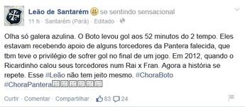 Perfil oficial do São Francisco provoca Tapajós e São Raimundo (Foto: Reprodução/Facebook)
