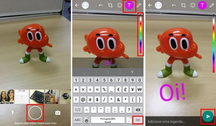 Escreva textos como no Snapchat (Foto: Reprodução/Aline Batista)