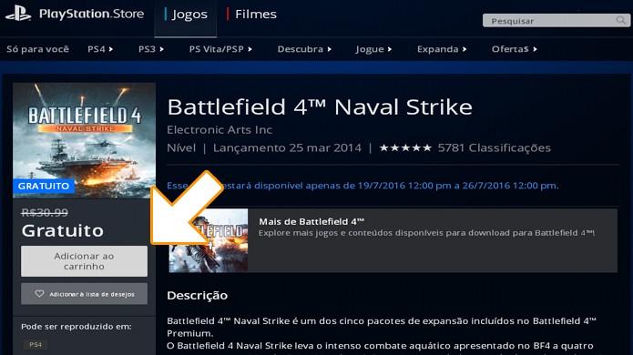 Na PlayStation Store basta adicionar o DLC ao seu carrinho e finalizar a compra de Battlefield 4: Naval Strike (Foto: Reprodução/Rafael Monteiro)