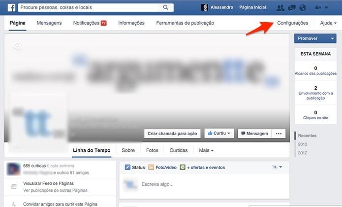 Menu de Configurações da página fica no topo da página. (Foto: Reprodução/Alessandro Junior)