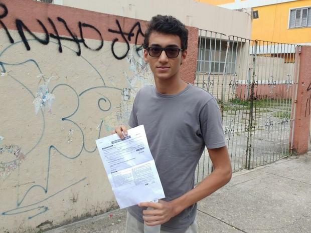Candidato Jonatan da Silva disse que problema na primeira prova prejudicou sem desempenho no segundo dia. Belém (Foto: Arthur Sobral/G1)
