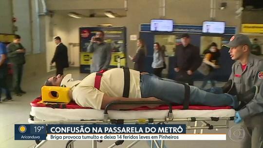 Briga na estação Pinheiros do Metrô gera confusão e deixa 14 feridos