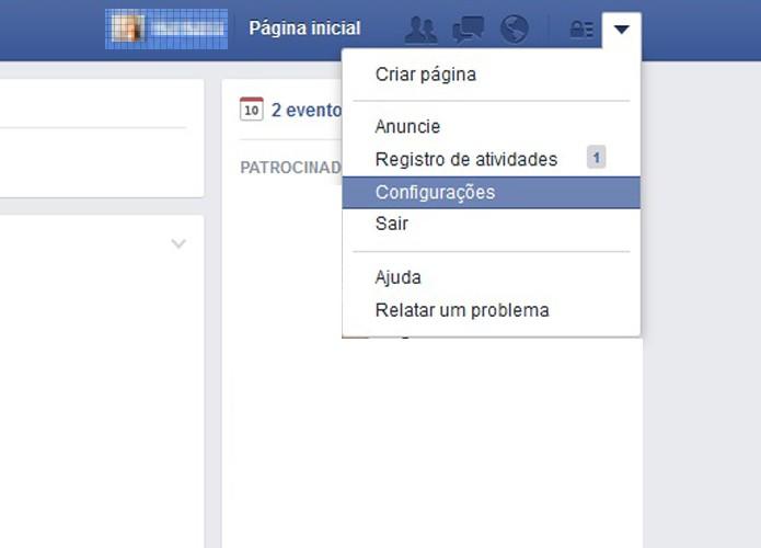 """Conecte sua conta do Facebook e acesse as """"Configurações"""" (Foto: Reprodução/Barbara Mannara)"""