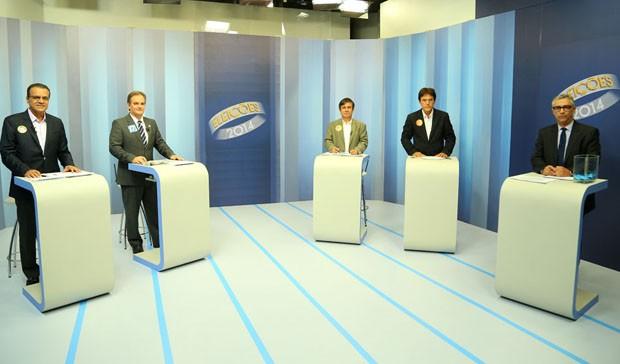 Candidatos ao governo do Rio Grande do Norte participam de debate na Inter TV Cabugi (Foto: Alexandre Lago/G1)